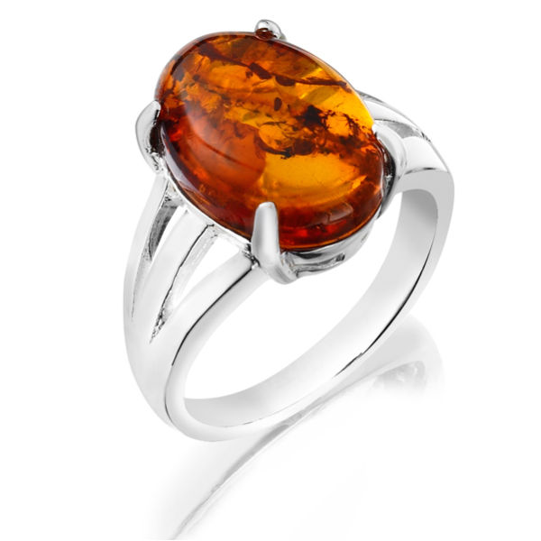 Stunning Silver Plated Amber Ring Iwoot