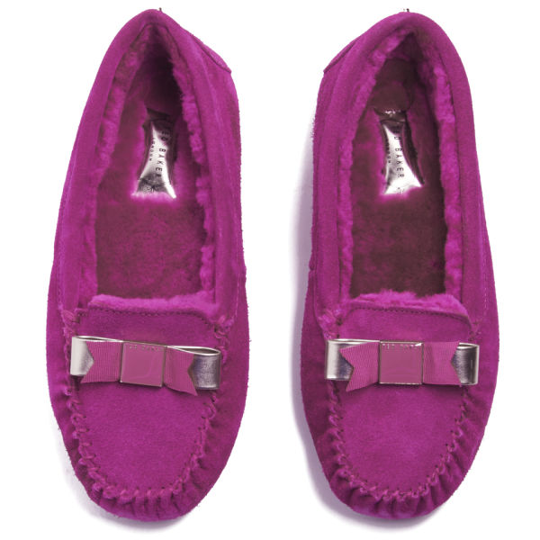da37520a6f96f9 Ted Baker Women s Sarsone Suede Bow Front Slippers - Dark Pink  Image 2