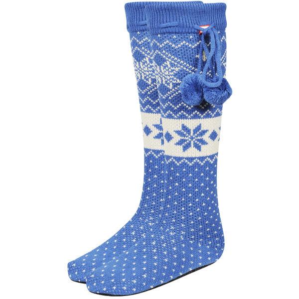 Hunter Women's Fair Isle Slipper Socks - Petrol Blue - FREE UK ...