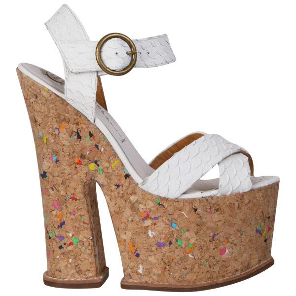 Jeffrey Campbell Women's Rubell Cork Platform Heels - White