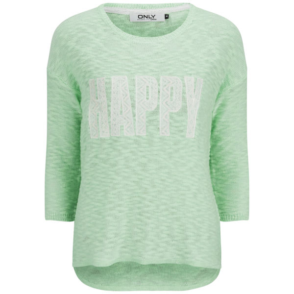 ONLY Women's Happy Slogan Knitted Jumper - Bay