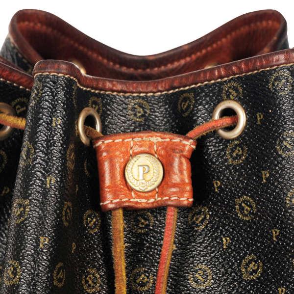 Pollini Vintage Monogram Drawstring Shoulder Bag Image 3