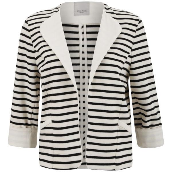 Great Plains Women's Breton Stripe Open Front Jacket - Double Cream/Black