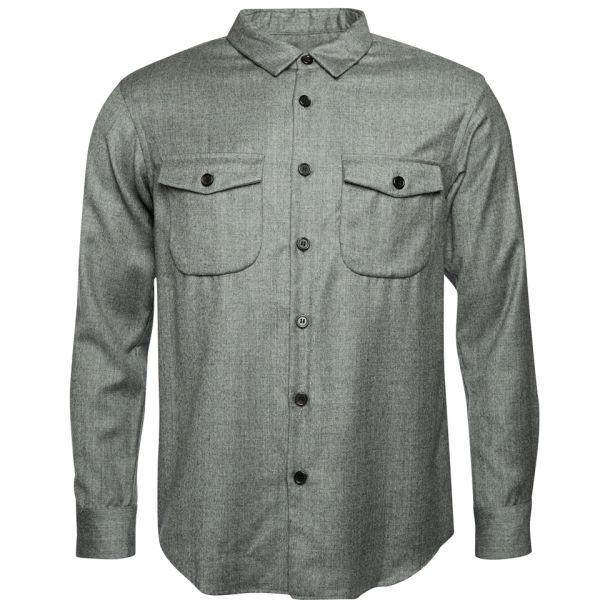 Julien david men 39 s light wool flannel shirt light grey for Mens wool flannel shirt