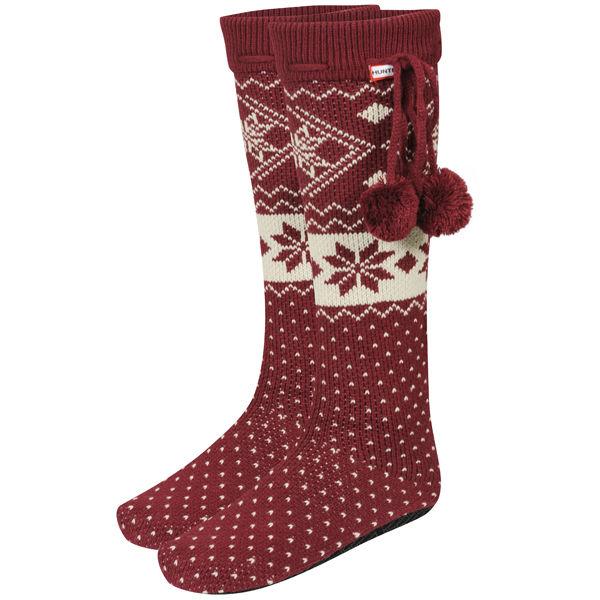 Hunter Women's Fair Isle Slipper Socks - Very Berry - FREE UK Delivery