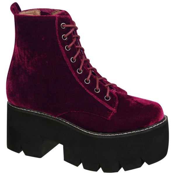 Jeffrey Campbell Women's Siglin Velvet Platform Boots - Burgundy