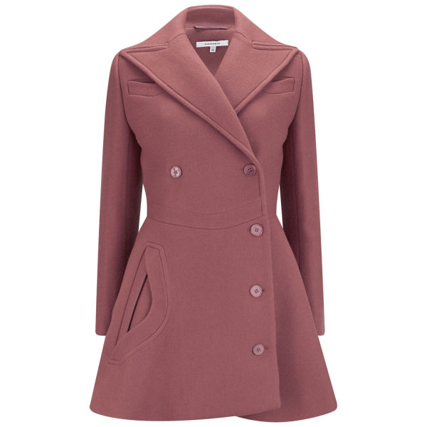 Carven Women's Caban Woollen Buttoned Coat - Old Pink