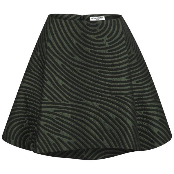Opening Ceremony Women's Dimensional Fingerprint Circle Skirt - Marble Green Multi