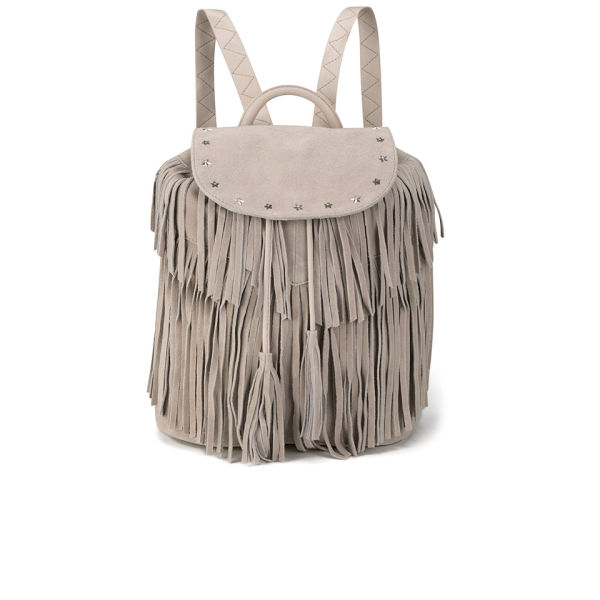 Maison Scotch Women's Leather Backpack With Fringes - Blush