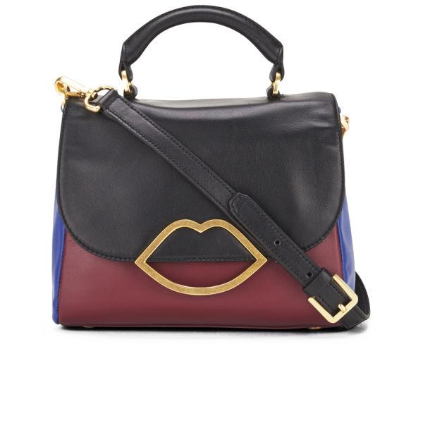 Lulu Guinness Small Colour Block Izzy Leather Bowler Bag - Blue/Burgundy/Black