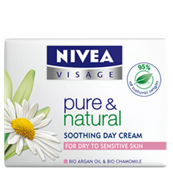 NIVEA VISAGE PURE & NATURAL MOISTURISING DAY CREAM - DRY TO SENSITIVE SKIN (50ML)