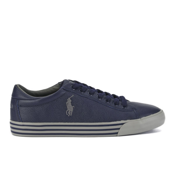 Polo Ralph Lauren Men's Harvey Soft Tumbled Leather Trainers - Newport  Navy: Image 1