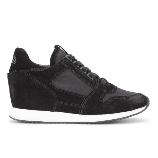 Ash Women's Dean Ter Wedged Suede Trainers - Black
