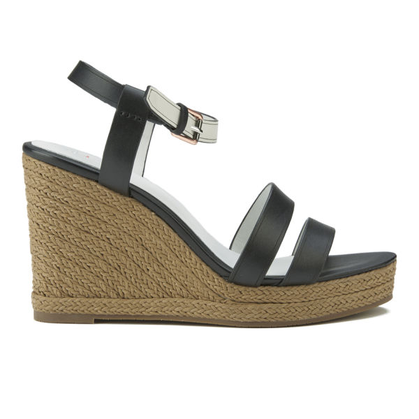 Paul Smith Shoes Women's Braye Leather Wedged Sandals - Black Servo Lux/White