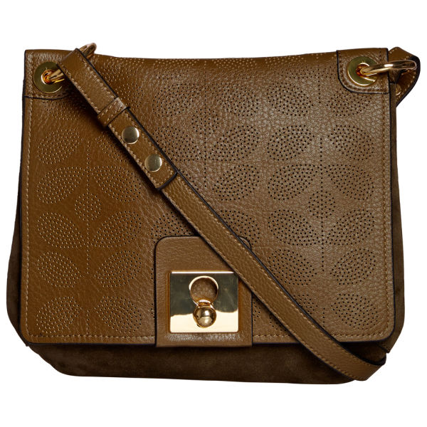 Orla Kiely Women's Sixties Stem Punched Leather Mini Ivy Bag - Olive