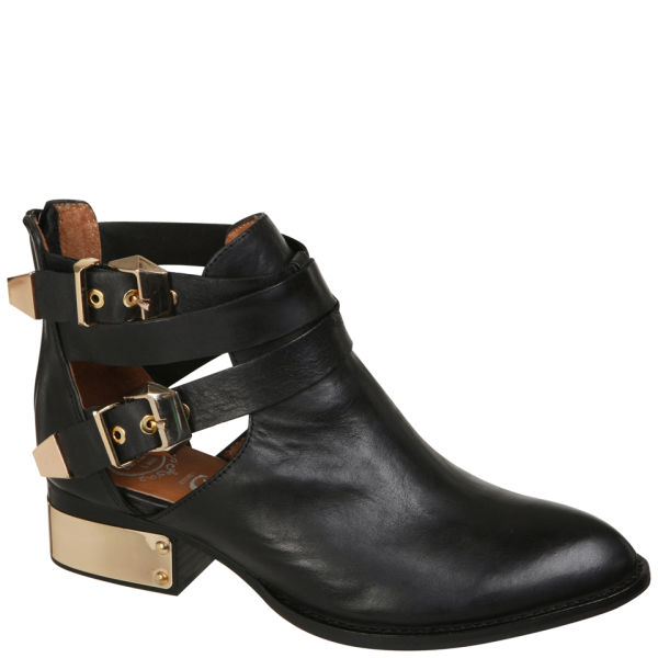 6efa67895d7e Jeffrey Campbell Everly Buckle Leather Ankle Boots - Black