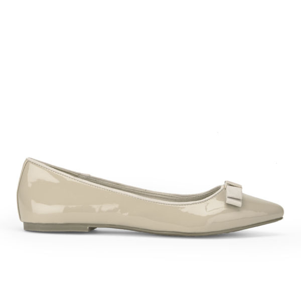 Miss KG Women's Nanette Patent Bow Front Pointed Flats - Nude