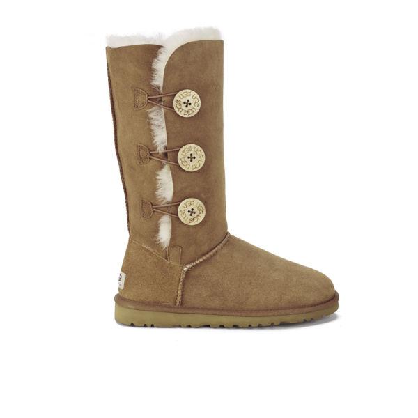 UGG Women's Bailey Button Triplet Sheepskin Boots - Chestnut
