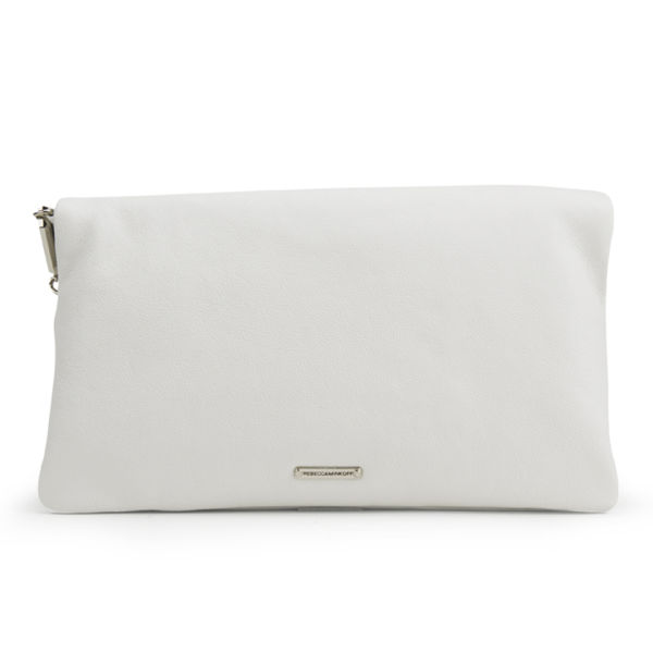 Rebecca Minkoff Harper Soft Leather Clutch Bag White