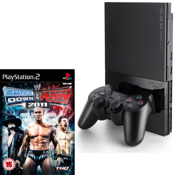 Sony Playstation 2 Slimline Console and WWE Smackdown V ...
