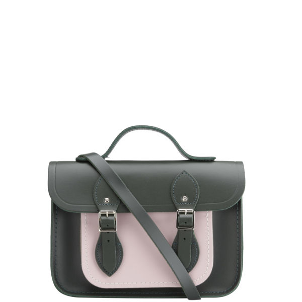 The Cambridge Satchel Company 11 Inch Leather Satchel - Olive/Peach Pink