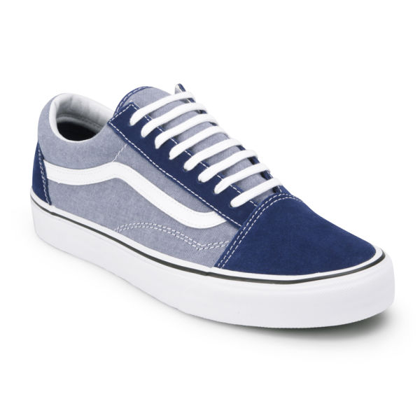 vans old skool suede chambray estate blue
