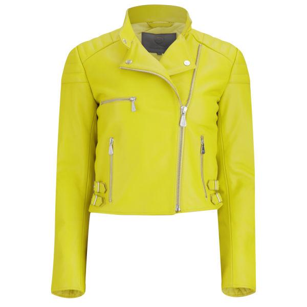 McQ Alexander McQueen Women's Padded Biker Jacket - Marker Yellow