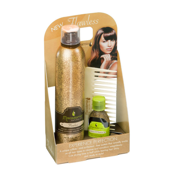 Macadamia Natural Oil Flawless Cradle 250ml Flawless 6-in-1, Healing Oil 30ml, Oil Infused Comb (Worth £46.20)