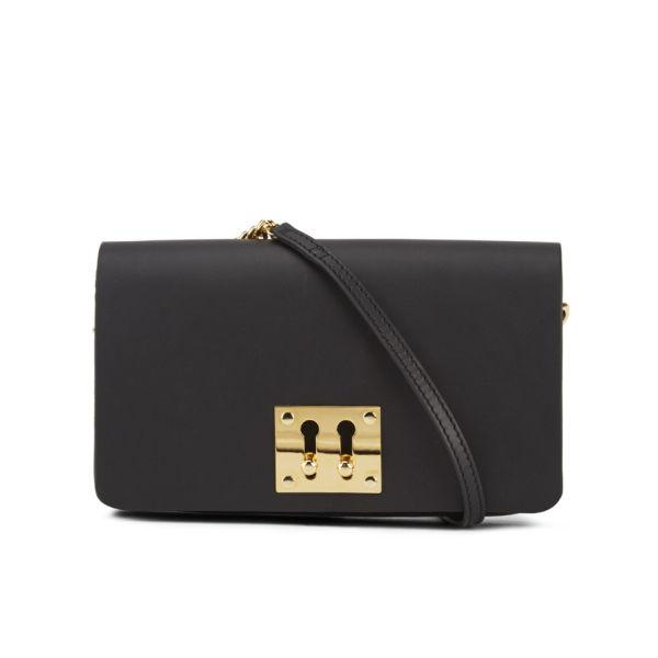 Sophie Hulme Women's Twin Keyhole Leather Clutch Bag - Black