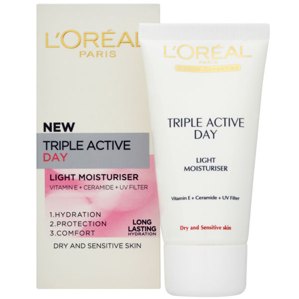 Dermo-Expertise Triple Active Light Day Moisturiser - Dry/Sensitive de L'Oreal Paris (50ml)