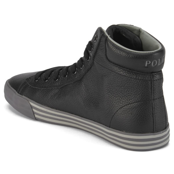59fa4cb98539 Polo Ralph Lauren Men s Harvey-Mid Soft Tumbled Leather Trainers - Black   Image 5