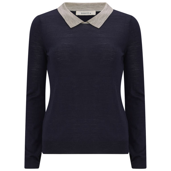 Sessun Women's Tullio Contrast Collar Knit Jumper - Bleu Emilienne