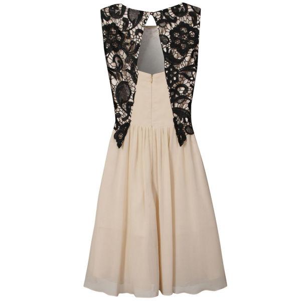 Little Mistress Women s Lace Overlay Prom Dress - Black Cream Womens ... 3c8b92184