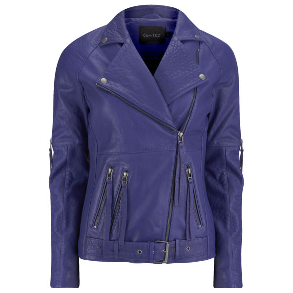 Gestuz Women's Leather Jacket - Blue