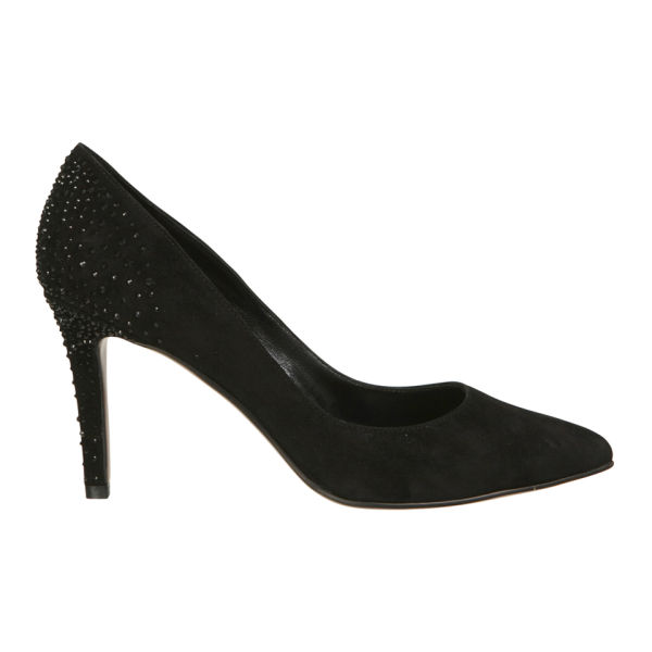 Lola Cruz Women's Jewelled Suede Court Shoes - Black