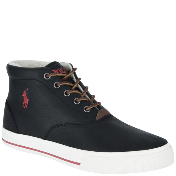 5632a08bcc7b Polo Ralph Lauren Men s Zale Mid Top Leather Trainers - Black Red  Image 1