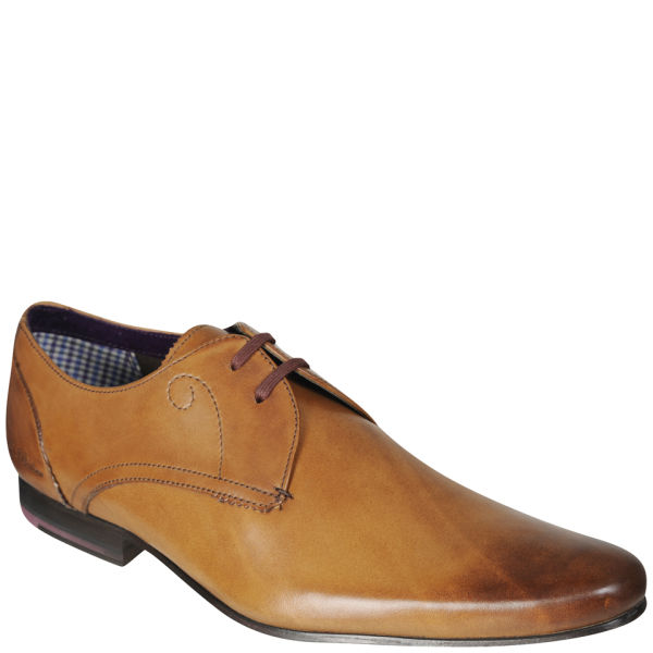 Mens Patrii Pointed Leather Derby Shoes Tan FREE UK Delivery