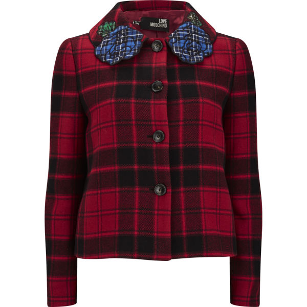 Love Moschino Women's Tartan Wool Jacket  - Red Check