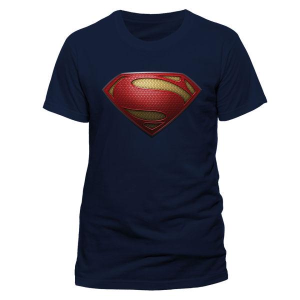T-Shirt Homme Logo Texturé Man of Steel - Bleu Marine