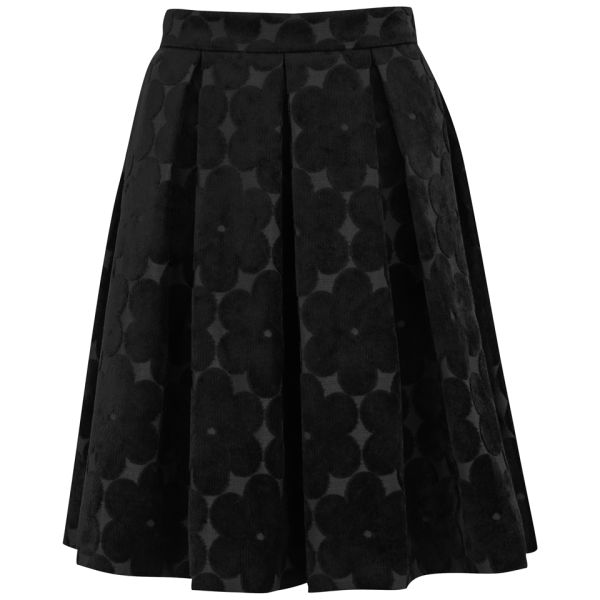Orla Kiely Women's Flower Power Pleated Skirt - Black