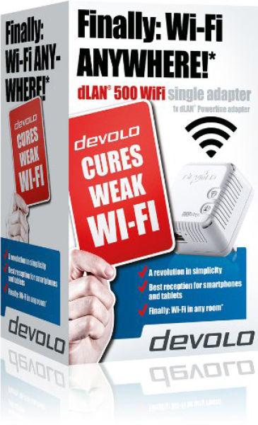 devolo dlan 500 wifi single adapter computing zavvi. Black Bedroom Furniture Sets. Home Design Ideas
