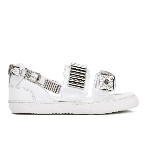 Toga Pulla Women's Metal Embellished Flatform Sandals - Clear