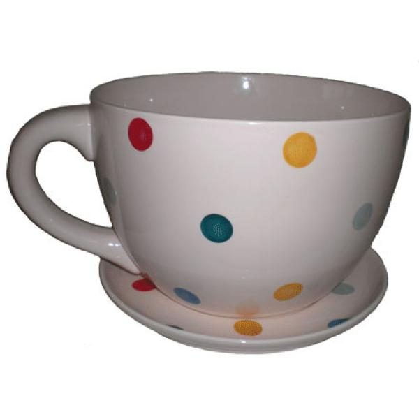 Giant Cream with Multi Coloured Spots Tea Cup and Saucer Planter ...