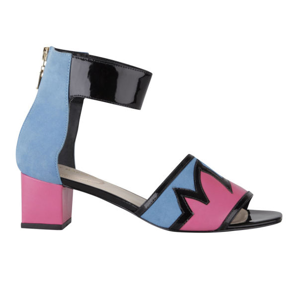 Kat Maconie Women's Geraldine Patent Leather Flame Low Heels - Blue/Magenta/Black