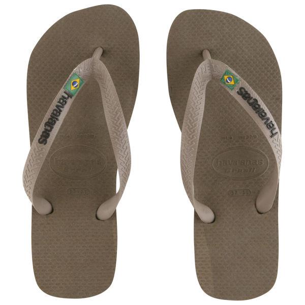 febac8806a6d58 Havaianas Men s Brasil Logo Flip Flops - Dark Khaki  Image 1