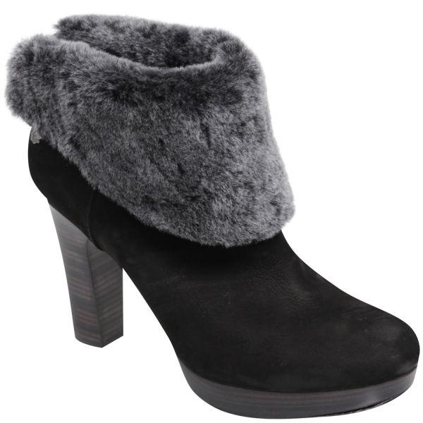 UGG Women's Dandylion Heeled Leather Ankle Boots -Black