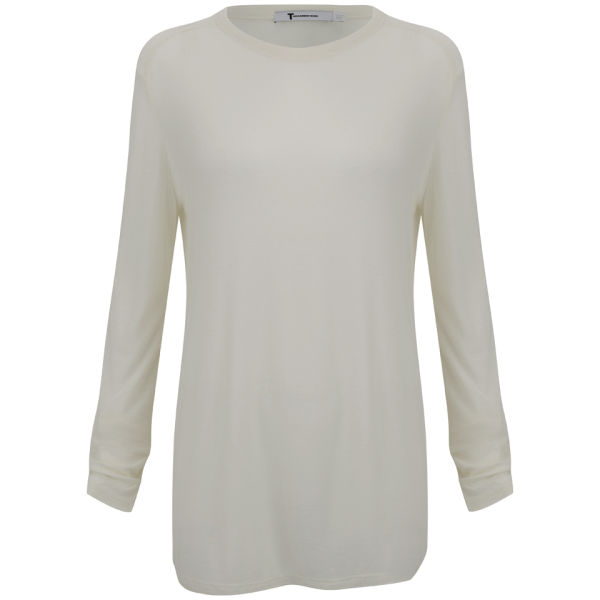 T by Alexander Wang Women's SLUB Classic Long Sleeve Tee - Ivory