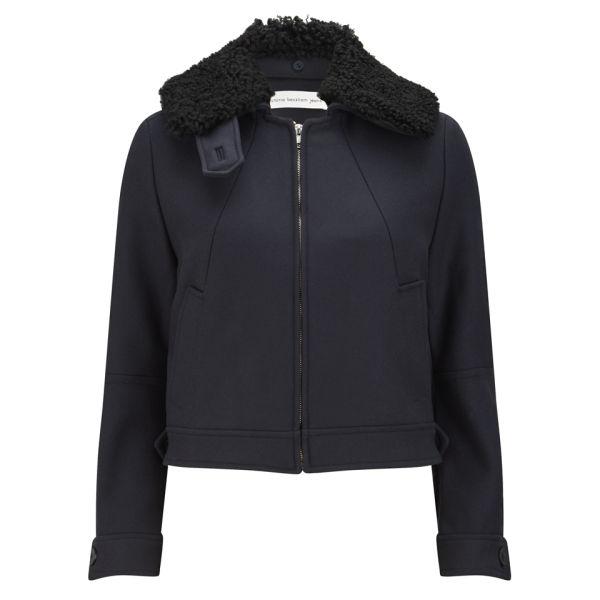 Victoria Beckham Women's Shearling Collar Military Wool Bomber Jacket - Navy