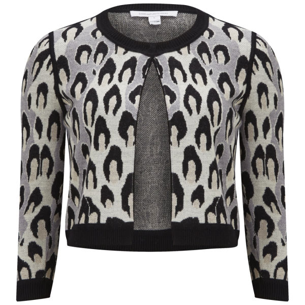 Diane von Furstenberg Women's Animal Print Cropped Knit Cardigan - Animal Dance Large