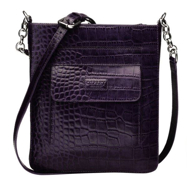 OSPREY LONDON The Carapace Polished Croc Leather Cross Body Bag - Purple